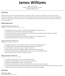 Resume Builder Templates Carpenter Resumes Resume For Your Job Application
