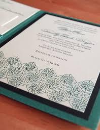 folded invitation irish green celtic wedding invitation a7 pocket folded tara u0027s