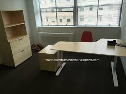 Desk With File Cabinet Ikea by Ikea Bekant Office Desk Galant File Cabinet And Storage Assembled