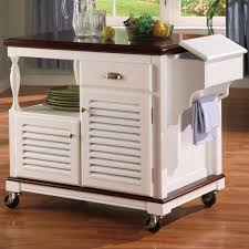 kitchen rolling island cart kitchen cart with trash bin