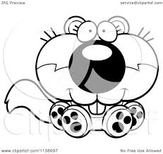 cartoon clipart of a black and white cute sitting baby squirrel