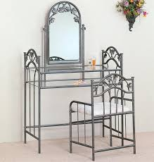 Bedroom Vanity Furniture Canada Furniture Grey Iron Makeup Vanity Sets With Glass Top And Shelf