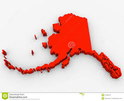 State Map United States by Alaska Red Abstract 3d State Map United States America Stock
