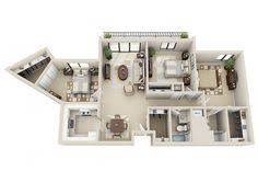 3 Bedroom Apartment Floor Plan 3 Bedroom Apartment House Plans 3d Floor Plans Pinterest