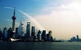 shanghai skyline graphic wallpaper