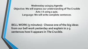 wednesday 10 23 13 agenda objective we will generate notes on the