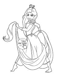 serious princess rapunzel coloring page for kids disney princess