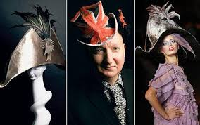 The joy of hats: left, brown Bicorn made from panne velvet and coque feathers; centre milliner Stephen Jones and right, a model displays the Bicorn hat at ... - stephen-jones_1249966c