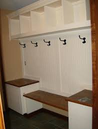 Storage Bench With Hooks by Furniture White Painted Hardwood Mudroom Locker With Twin Height