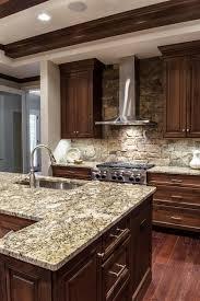 Fancy Kitchen Cabinets by Stunning Kitchen Stone Backsplash Dark Cabinets Impressive Ideas