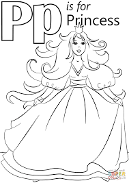 letter p is for princess coloring page free printable coloring pages