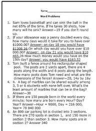 th Grade Math Word Problems and Worksheets Math About