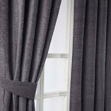 homescapes pewter grey chenille curtains tie backs pair 2 tie