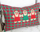 Whimsical Christmas Pillows, Gingerbread Men, Red Green Plaid ...