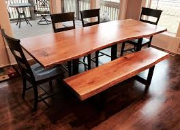custom live edge dining room table and bench white oak by kc