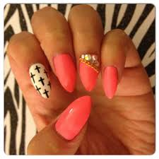 pink with black and white cross design stiletto press on nails