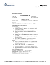 Resume Example Skills for Technical Writer with Educations and     Resume Example Skills for Technical Writer with Educations and Experience