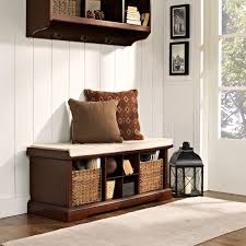 White Entryway Table by Brennan Mahogany Entryway Storage Bench Crosley Furniture Storage