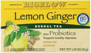 amazon com bigelow lemon ginger herb plus probiotics tea