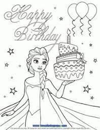 happy birthday elsa coloring disney frozen birthday