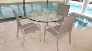 wrought iron painted table base w round glass table top u0026 3 patio