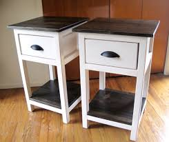 Small Bedroom Side Tables White Stained Wooden Bedside Table With Square Black Teak Wood