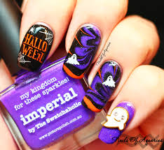 casper watermarble halloween nail art for hpb october link up
