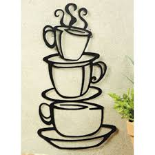 amazon com black coffee cup silhouette metal wall art for home