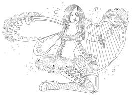 harp coloring page 916 best coloring pages fantasy images on pinterest coloring