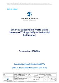 Smart  amp  Sustainable World using Internet of Things  IoT  for Industri