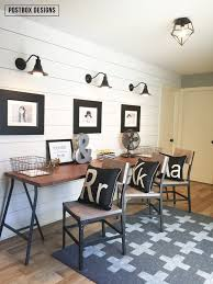 Farmhouse style Kid     s Homework Area with three stations  by Postbox Designs  DIY swiss cross rug  DIY no sew curtains  shiplap wall  Ikea desk      Pinterest