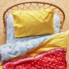 kip u0026co little flowers rv gingham yellow duvet cover duvet covers
