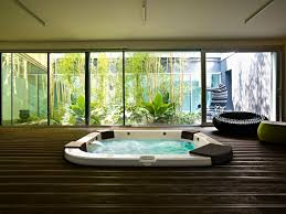 design ideas mesmerizing indoor jacuzzi spa on wooden deck faced
