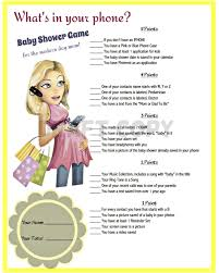 Whats Included Baby Shower Game Whats In Your Phone