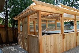 Enclosing A Pergola by Enclosed Cedar Pergola For Outdoor Swim Spa Traditional Patio