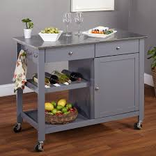 Wine Rack Kitchen Island by Small Wooden Island With Stainless Steel Countertop Light Wood