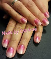 pink faded shellac nails romantique mix with haute pink additive