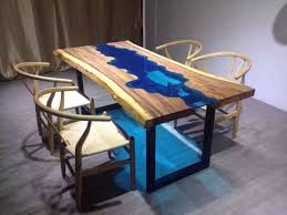Wood Dining Room Custom Made Acacia Live Edge River Wood And Glass Dining Table