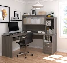 l shaped office desk and hutch with frosted glass doors in bark
