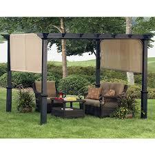 Lowes Gazebos Patio Furniture - shop garden treasures 134 in w x 134 in l x 92 in h x matte black