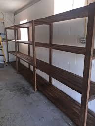 Build Wood Garage Shelves by Stained 2x4 Diy Garage Storage Favorite Plans Ana White Diy