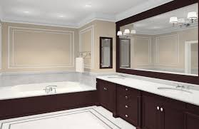 light cherry wood vanity with white countertop and sidelights on the