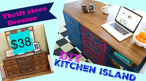 how to make a kitchen island from a thrift store dresser youtube
