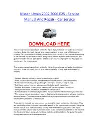nissan urvan 2002 2006 e25 service manual and repair car service