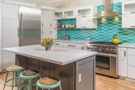 remodeled kitchen w wavy turquoise backsplash u0026 white cabinets