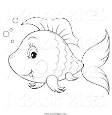 vector coloring page of a happy black and white cute fish by alex