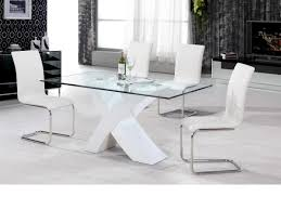 white high gloss dining table u0026 4 chairs clear glass homegenies