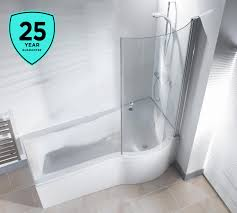 p shape shower bath 1500 1675 1700mm with screen left or right