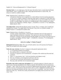 English      Terms and Background for    A Modest Proposal    The