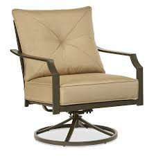 Club Swivel Chair Garden Treasures Vinehaven 2 Count Brown Steel Swivel Rocker Patio